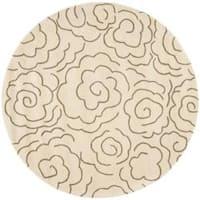Safavieh Handmade Soho Roses Beige New Zealand Wool Rug (6' Round) - 6'