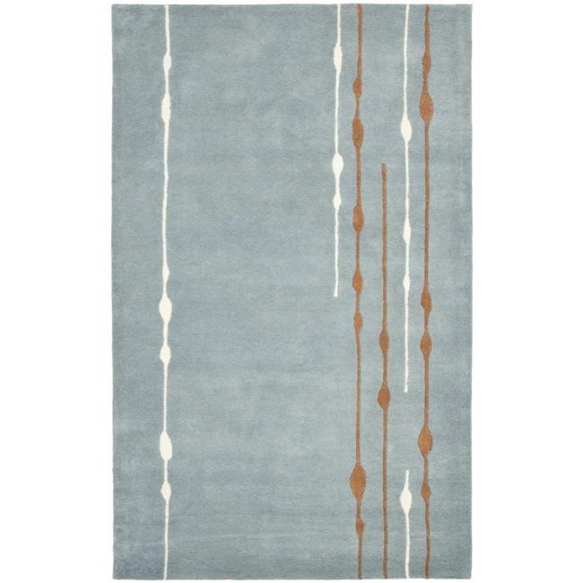 Safavieh Handmade Soho Modern Abstract Rain Blue Wool Rug - 7'6 x 9'6