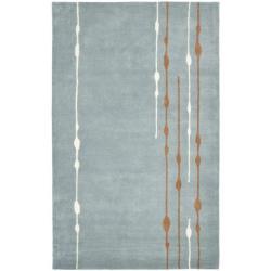 Safavieh Handmade Soho Modern Abstract Rain Blue Wool Rug (7'6 x 9'6)