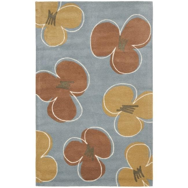 Safavieh Handmade Soho Daisies Blue New Zealand Wool Rug - 7'6 x 9'6