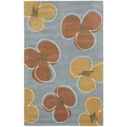 Safavieh Handmade Soho Daisies Blue New Zealand Wool Rug - 7'6 x 9'6 - Thumbnail 0