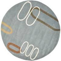 Safavieh Handmade Soho Modern Abstract Blue Wool Rug - 6' x 6' Round