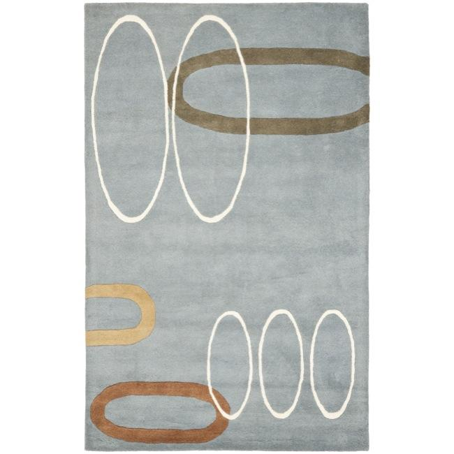Safavieh Handmade Soho Modern Abstract Blue Wool Rug - 7'6 x 9'6