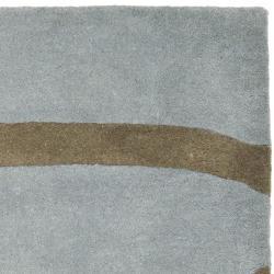 Safavieh Handmade Soho Modern Abstract Blue Wool Rug (7'6 x 9'6) - Thumbnail 1