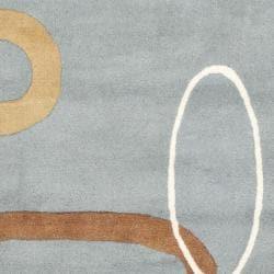 Safavieh Handmade Soho Modern Abstract Blue Wool Rug (7'6 x 9'6) - Thumbnail 2