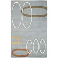 Safavieh Handmade Soho Modern Abstract Blue Wool Rug - 5' x 8'