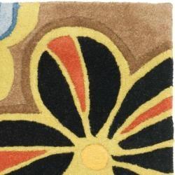 Safavieh Handmade Flower Power Brown New Zealand Wool Rug (2' x 3') - Thumbnail 2