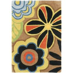 Safavieh Handmade Flower Power Brown New Zealand Wool Rug (2' x 3')