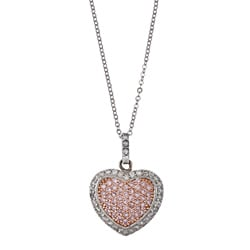 La Preciosa Sterling Silver Pink and White Cubic Zirconia Heart Necklace