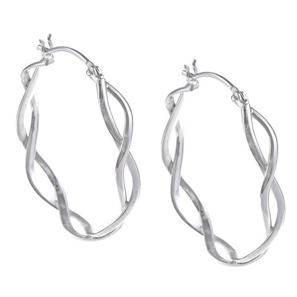 La Preciosa Sterling Silver Twisted Hoop Earrings