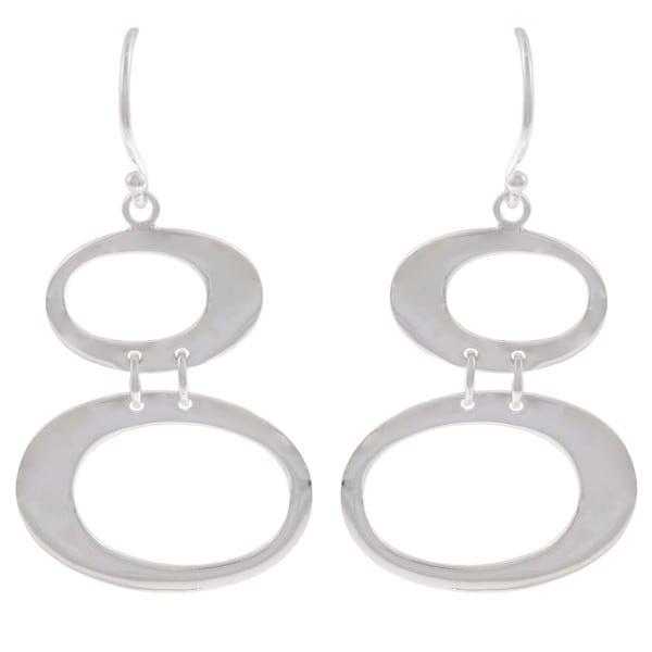 La Preciosa Sterling Silver Double Open Oval Earrings