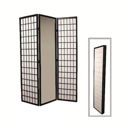 Black Finish 3-panel Mirror Room Divider