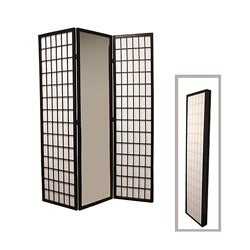 Black Finish 3-panel Mirror Room Divider