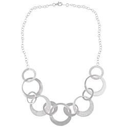 La Preciosa Sterling Silver Diamond-cut Alternating Circles Necklace