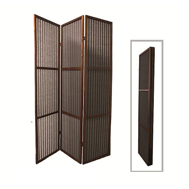 Walnut Finish 3-panel Rattan Room Divider