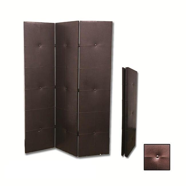 Black Faux Leather 3-panel Room Divider