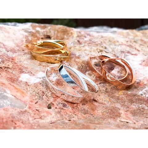 La Preciosa Sterling Silver Curved Oval Hoop Earrings