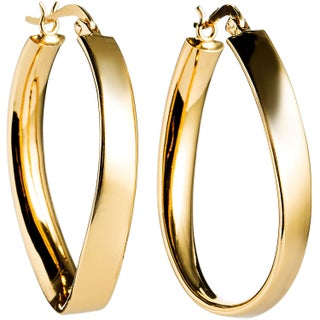 La Preciosa Sterling Silver Curved Oval Hoop Earrings (2 options available)