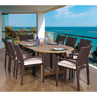 Amazonia Padova Oval 9-piece Teak and Wicker Dining Set
