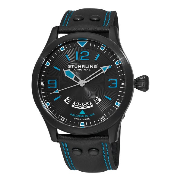 Stuhrling Original Men's Black/Blue Eagle Brigade Swiss Quartz Date Watch