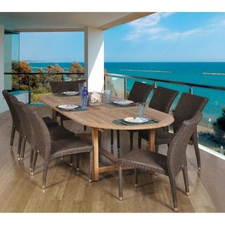 Amazonia Teak Michelangelo Oval 9-piece Teak and Wicker Dining Set