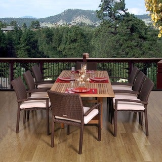 Amazonia Teak and Wicker Padova Extendable 9 piece Dining Set