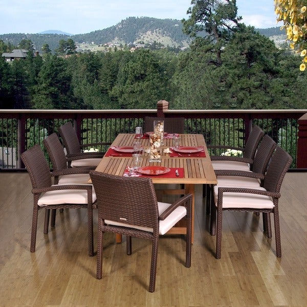 Amazonia Teak and Wicker Padova Extendable 9 piece Dining Set. Opens flyout.