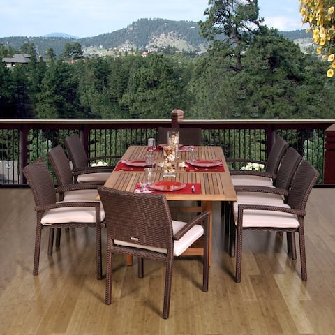 Amazonia Teak Padova Extendable 9-piece Teak and Wicker Dining Set