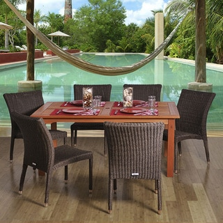 Amazonia Sicily Rectangular 7-piece Eucalyptus and Wicker Dining Set