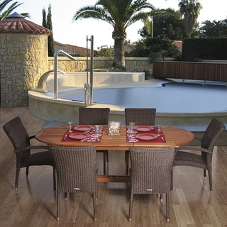 Amazonia Lazio Extendable 7-piece Eucalyptus and Wicker Dining Set