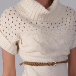 Ci Sono by Adi Juniors Belted Cable Knit Sweater Tunic - Thumbnail 2