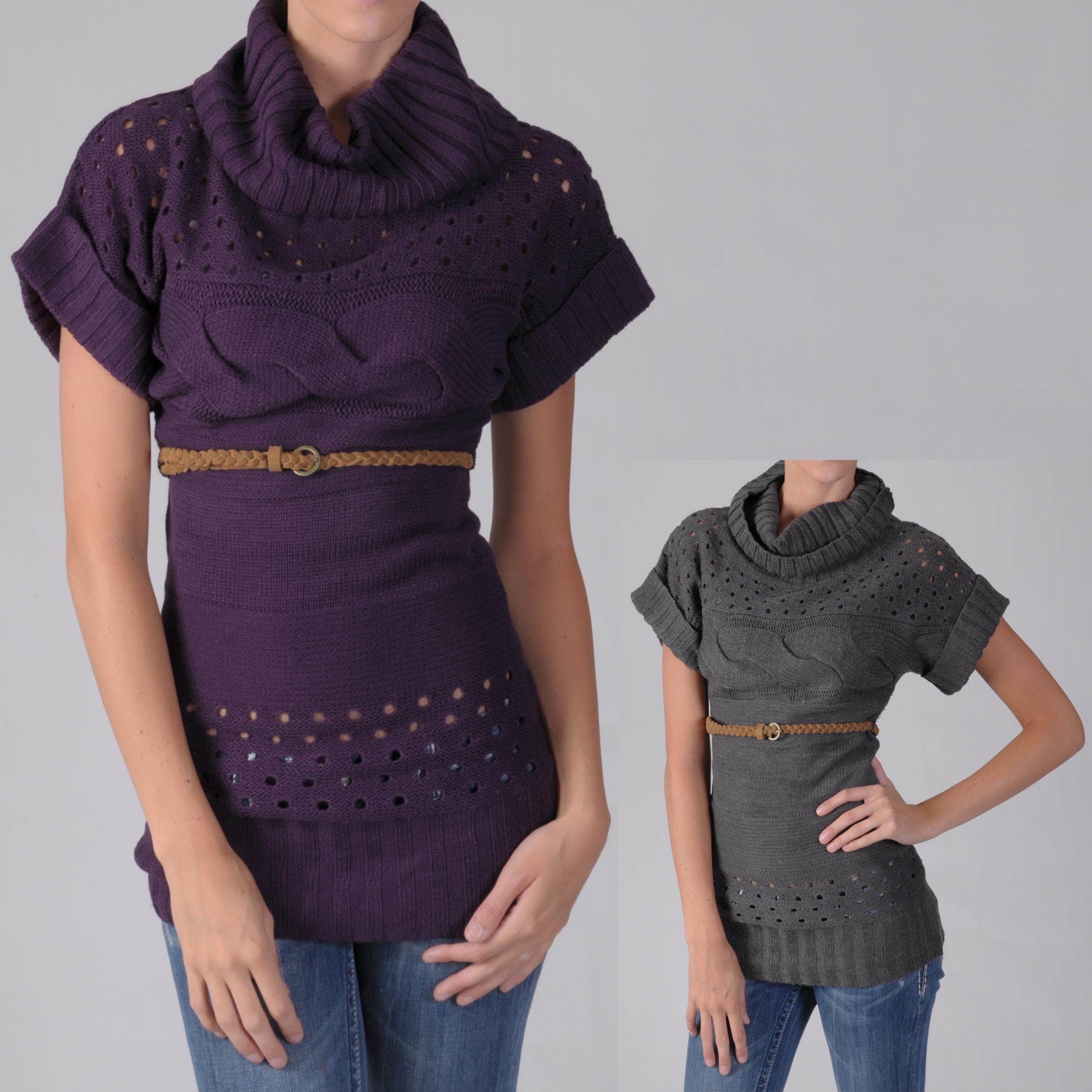 Shop Ci Sono By Adi Juniors Belted Cable Knit Cowl Neck Sweater