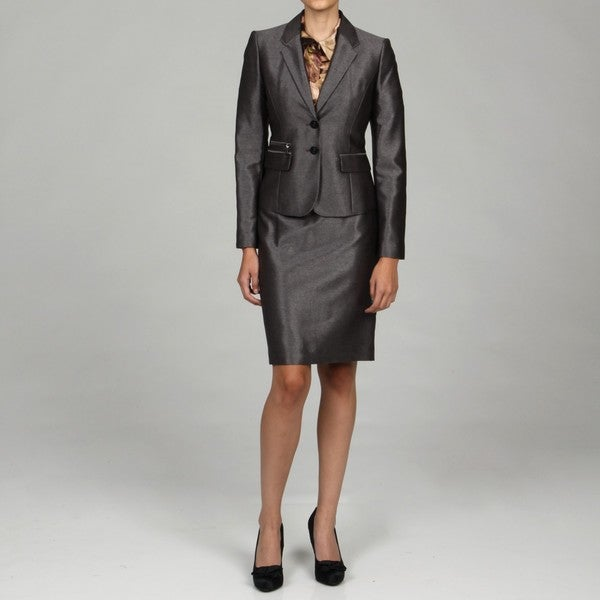 Calvin Klein Women's Charcoal 2-piece Skirt Suit - Free Shipping ...