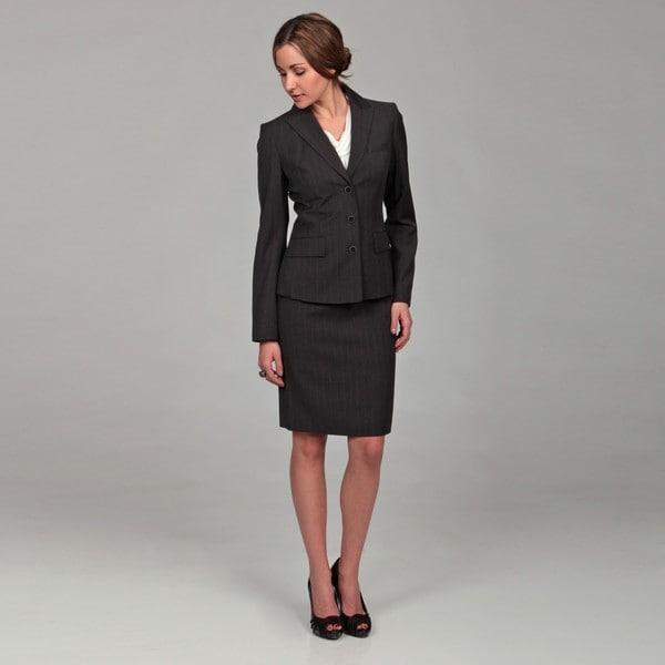 Calvin Klein Women's Charcoal/ White Skirt Suit - Free Shipping ...