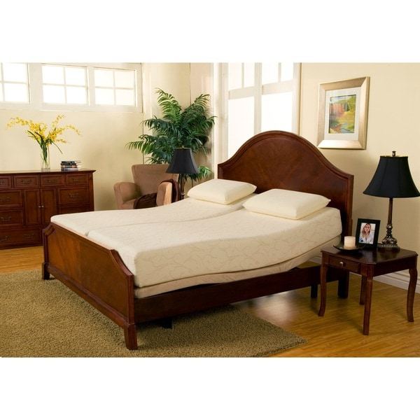 Shop Sleep Zone Premium Adjustable Bed And 8 Inch Split King Size Memory Foam Mattress Set