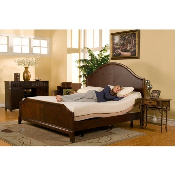 Sleep Zone Premium Adjustable Bed And 8 Inch Queen Size Memory Foam Mattress Set Free Shipping