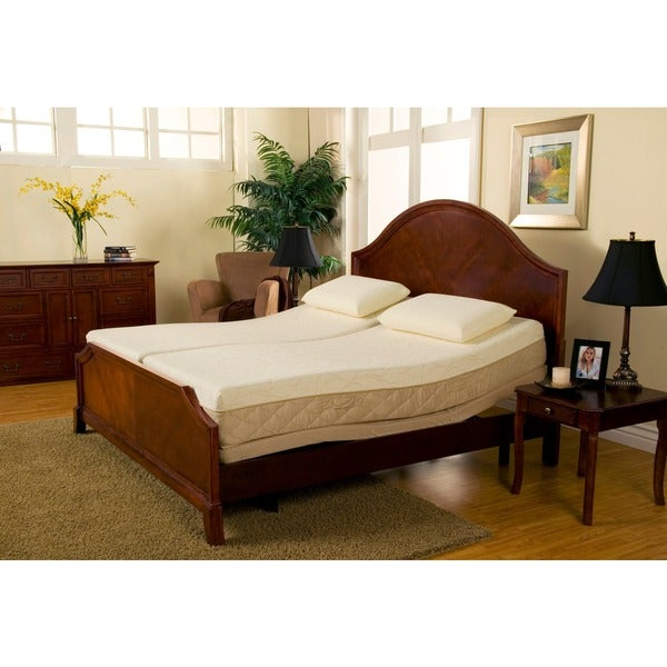 sleep zone supreme 10 inch latex and memory foam split king size adjustable mattress set