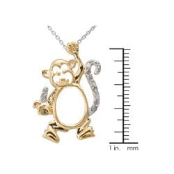 Two-tone Silver 1/10ct TDW Diamond Monkey Critter Necklace (J-K, I3)