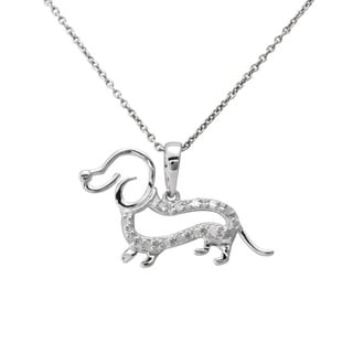 Rose or Silver 1/10ct TDW Diamond Dachshund Dog Necklace (J-K, I3)