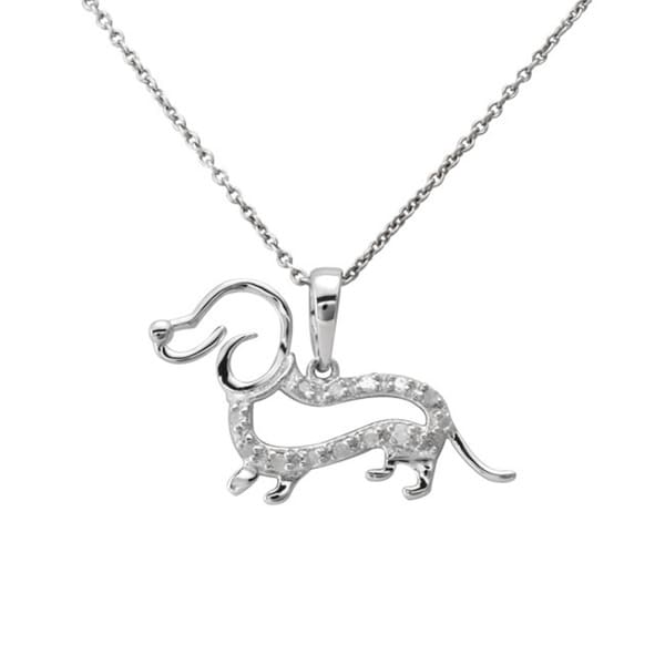 c3138b40245db Shop Rose or Silver 1/10ct TDW Diamond Dachshund Dog Necklace (J-K ...