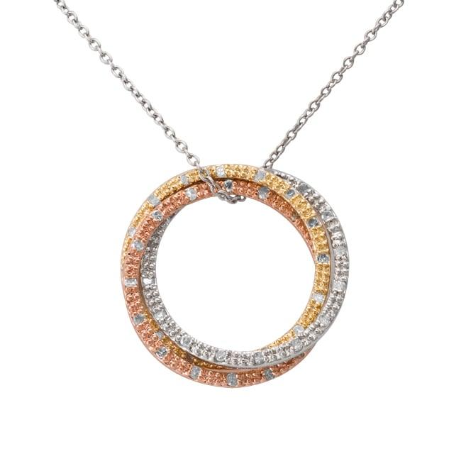 Tri-tone Silver 1/2ct TDW Diamond Triple Circle Necklace (J-K, I3)