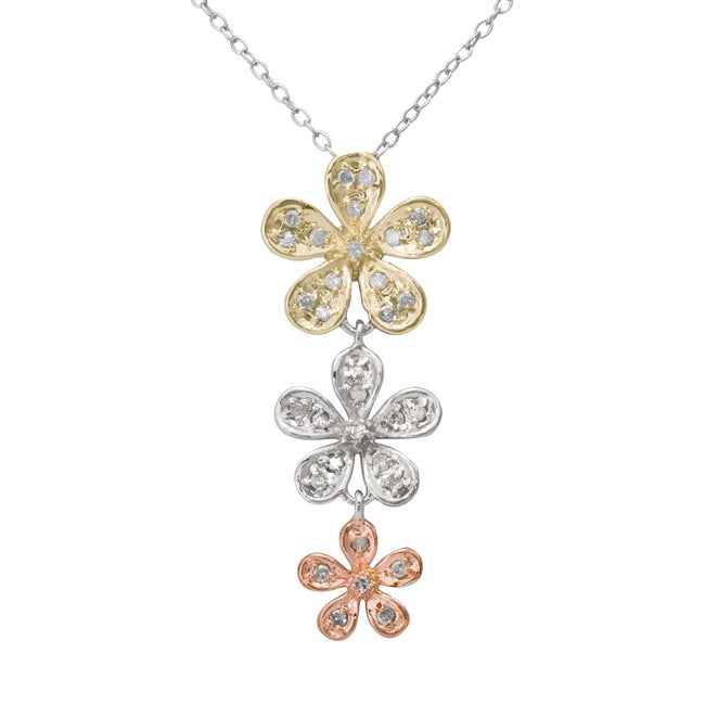 Sterling Silver 1/4ct TDW Tri-tone Triple Flower Drop Pendant Necklace