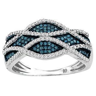 De Couer Sterling Silver 2/5 ct TDW Blue and white Criss-Cross Diamond Cocktail Ring