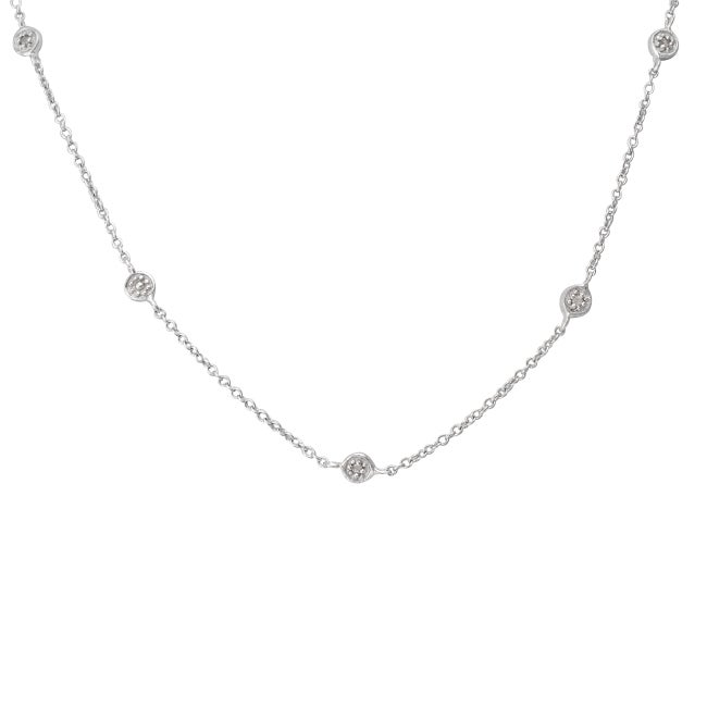 Sterling Silver 1/10ct TDW Diamond Station By the Yard Necklace