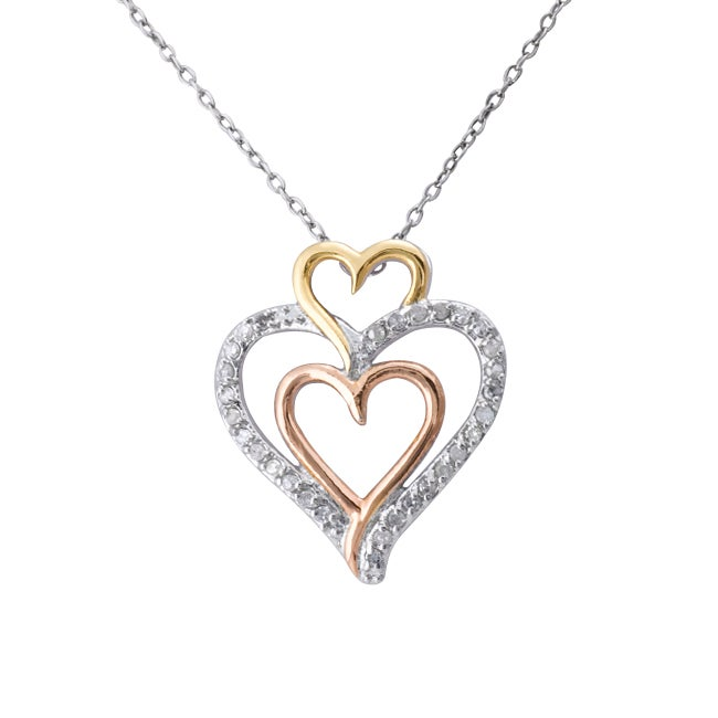 Sterling Silver 1/4ct TDW Tri-tone Triple Heart Pendant Necklace