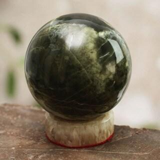 Handcrafted Serpentine 'Marine Depths' Sphere Sculpture  , Handmade in Peru