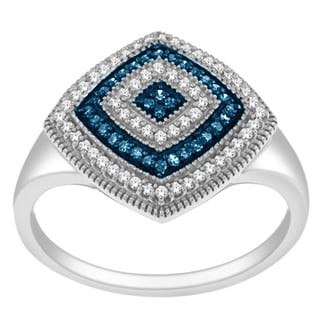 De Couer Silver 1/4ct TDW Blue and White Diamond Cocktail Ring