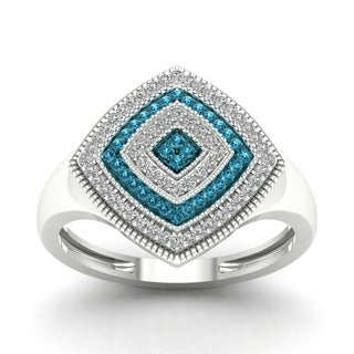 De Couer Silver 1/4ct TDW Blue and White Diamond Cocktail Ring (Option: Stainless Steel)