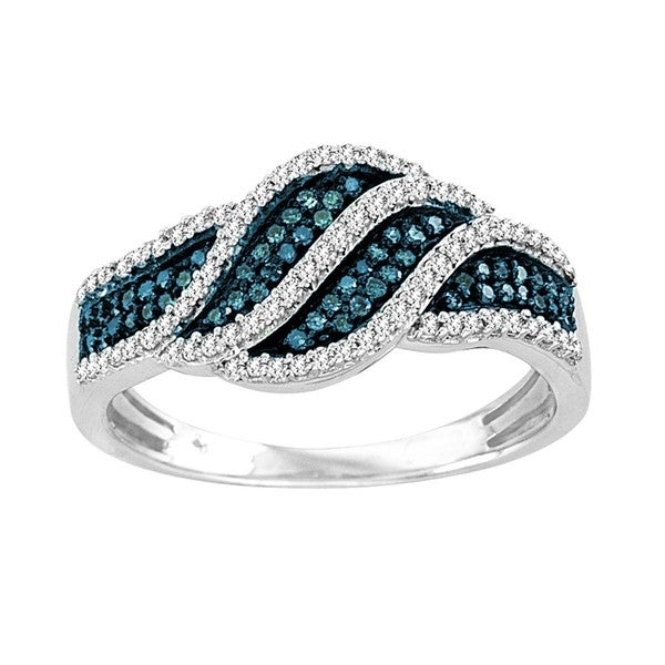 De Couer Sterling Silver 3/8 ct TDW Blue and White Diamond Fashion Ring (H-I, I2)
