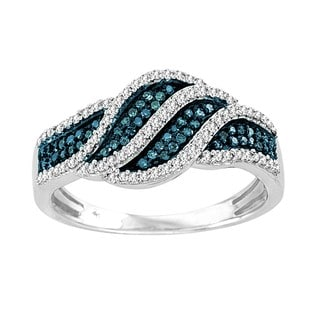 De Couer Sterling Silver 2/5 ct TDW Blue and White Diamond Fashion Ring